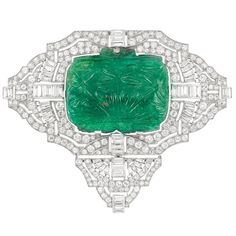 Art Deco Platinum, Carved Emerald and Diamond Brooch, Circa 1925