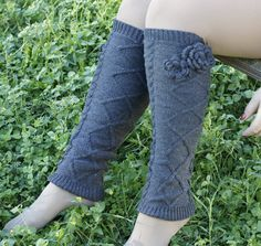 Cozy soft knit leg warmer socks for lady's or girls Gray color with crochet rose flower on side in picture you will receive exactly they described! any question please send me message :-) one size and 21 inches long Color available black and gray Lace Boot Socks, Grey Socks, Crochet Leg Warmers, Knit Crochet, Warm Socks, Crochet Flowers, Knits, Black And Grey, Gray Color
