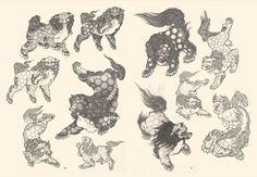 Japanese Dragon Tattoos, Japanese Tattoo Art, Japanese Tattoo Designs, Japanese Painting, Chinese Lion Dance, Foo Dog Tattoo, Japanese Animals, Japanese Monster, Fu Dog