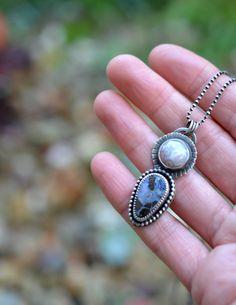 Sterling Silver Double Stone pendant. Two Stones. Ocean by Arrok