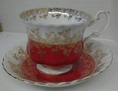 ROYAL ALBERT FOOTED CUP AND SAUCER REGAL SERIES RED, WHITE & GOLD FLOWER LACE