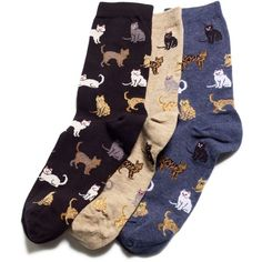 Hot Sox Women's Cats Trouser Socks (€5,37) ❤ liked on Polyvore featuring intimates, hosiery, socks, cat, accessories, fillers, black, cat socks, black hosiery and hot sox