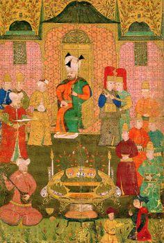 Sultan Murad IV at a dinner with music and drinking. Mid 17th century. TSM H2148, y. 11b. Sultan IV. Murad müzikli ve içkili bir yemekte. 17. yüzyılın ortaları. TSM H2148, y. 11b.