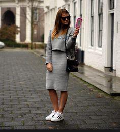 Wang top and skirt. Adidas trainers. Proenza bag