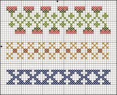 Ricami, lavori e centinaia di schemi a punto croce di tutti i tipi, gratis: Schemi a punto croce: Cornici e bordi con fiori colorati