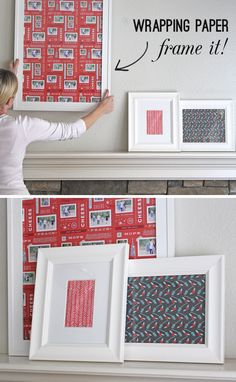 Fill empty photo frames with seasonal wrapping. | 19 Clever Ways To Use Leftover Wrapping Paper