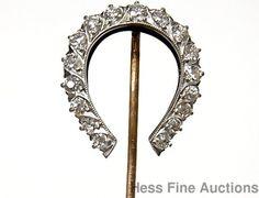 Big 1ctw Old Euro Diamond Horseshoe 14k Gold Platinum Edwardian Stick Hair Pin