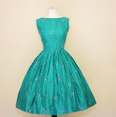 1950's Jerry Gilden Embroidered Dress