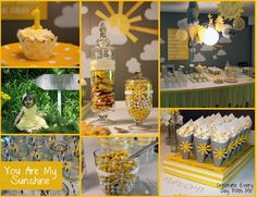 You Are My Sunshine Party! Lots of great ideas! Great baby shower theme too Sunshine Birthday Parties, Summer Birthday, 1st Birthday Girls, Baby Birthday, 1st Birthday Parties, Birthday Ideas, Third Birthday, Sunshine Baby Showers, Adoption Party