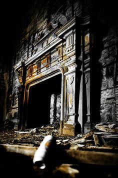 Fireplace in Buchanan Castle - a ruined country house in Stirlingshire, Scotland, located 1 mile (1.6 km) west of the village of Drymen.