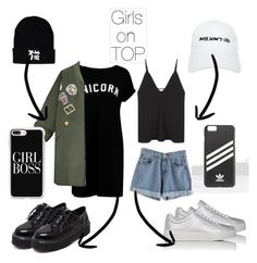"""""""Girl on top"""" by vl2502 on Polyvore featuring мода, Boohoo, Prada Sport, WithChic, Nasaseasons, Christopher Esber, adidas и Casetify"""