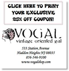 Visit VOGAL Shop in Haddon Heights, NJ during the summer months and receive 25% off your first purchase (now until 9/1/12.)