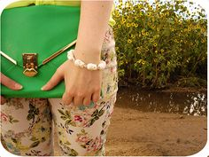 Floral denim + envelope clutch   Macarons and Stilettos