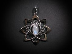 Pleiadian Pendant with Rainbow Moonstone by LiquidFireMantra