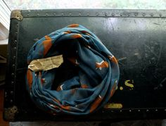 Teal Blue and Tan Fox Infinity Scarf  Voile Soft, Lightweight Year-round Scarf, Spring Scarf, Winter Scarf Birthday Gift Fall Accessory