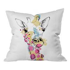 Casey Rogers Giraffe Color Polyester Throw Pillow