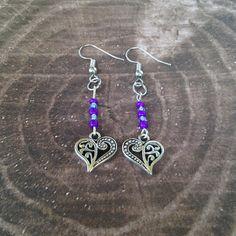 Heart Earrings Tibetan Silver Purple Beads Dangle