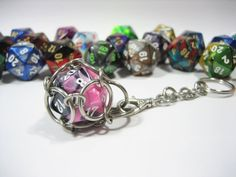 Swappable D20 Chain Mail Key Chain  Choice of Colors by Sneath