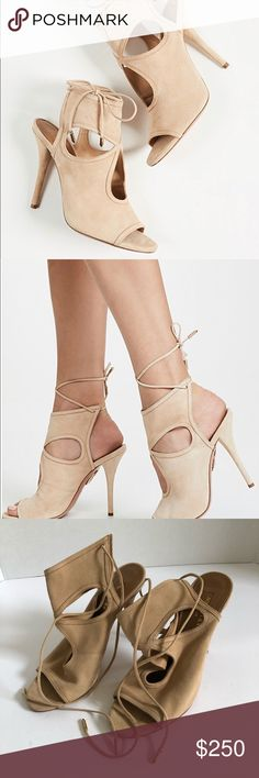 """cd6ddda857f8 Aquazzura """"Sexy Thing"""" Suede Cutout Heel Sandal Aquazzura Sexy Thing Women s  Nude Suede Cutout Back-Tie High Heel Sandal Color  Nude Size  EU 36.5   US  6.5 ..."""
