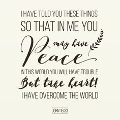 Christ's peace is ours, if we want it.