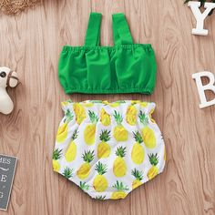 Baby / Toddler Stylish Bowknot Strappy Top and Pineapple Allover Shorts Set Outfits Niños, Kids Outfits, Batman Outfits, Formal Outfits, Polyvore Outfits, Cute Baby Clothes, Baby & Toddler Clothing, Baby Girl Dresses, Baby Dress