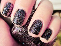sparkly, glitter, black, nails, nail polish, girly