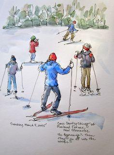 Sketchbook Wandering: Sketch #4: Cross Country Skiing in Maine