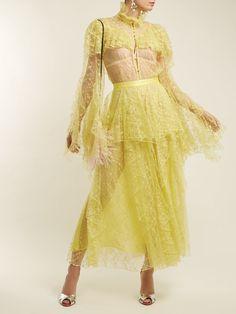 31ec8c3b23477 RODARTE Ruffle-Trimmed Floral-Lace Skirt Yellow  2250 FREE S   H