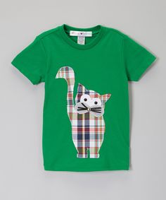 Do --- Look at this little bits Kelly Green Plaid Tabby Cat Tee - Infant, Toddler & Boys on #zulily today!
