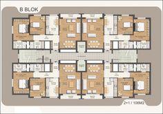Apartment plan Hotel Floor Plan, House Floor Plans, Building Layout, Building Plans, Architecture Plan, Residential Architecture, Residential Building Plan, Craftsman Floor Plans, Apartment Floor Plans