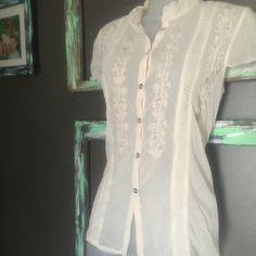 Romantic Sheer cream blouse by Madison Studio Romantic Sheer cream blouse by Madison Studio Madison studio Tops Blouses