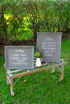 Ornate frames - the whole thing painted in chalk board paint [pic via The Grower's Daughter]