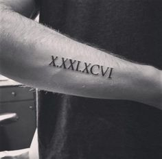 Roman Numeral Tattoo on Forearm by Cameron