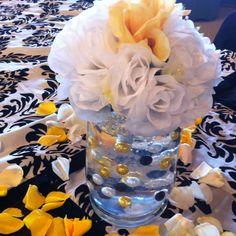 Yellow , black, white wedding centerpiece