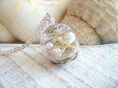 Starfish Necklace, Real Seashell Jewelry, Hollow Glass Globe, Beach Wedding Jewelry, Bridesmaids Necklace