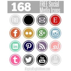 Free Social Media Icons (available in 12 different colors).