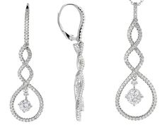 Bella Luce (R) 3.50ctw Rhodium Over Sterling Silver Pendant With Chain And Earrings #SterlingSilverShops