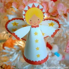 Angel Crafts that the whole family will enjoy making. Adorable Angel Crafts to suit all ages and abilities. Not exclusively for Christmas, they can be fun all year round. Christmas Angel Crafts, Christmas Angels, Kids Christmas, Christmas Tree Ornaments, Holiday Crafts, Christmas Decorations, Holiday Decor, Christmas Poinsettia, Crochet Christmas