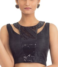 Black Raw Silk sleeveless Blouse with Black Sequence Front Panel Brocade Blouse Designs, Black Blouse Designs, Pattu Saree Blouse Designs, Simple Blouse Designs, Stylish Blouse Design, Choli Designs, Stylish Dress Designs, Bridal Blouse Designs, Sleeves Designs For Dresses
