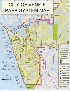 Map of Public Parks & Trails in Venice, Florida.