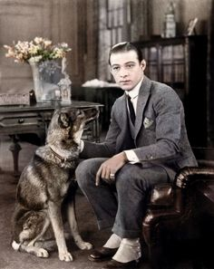 1920s Hollywood - The legendary Rudolph Valentino with dog