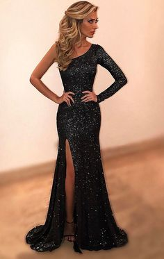 Cheap prom dresses Black Evening Dresses,One Shoulder Beads and Crystal Evening Party Dress by prom dresses, $183.00 USD