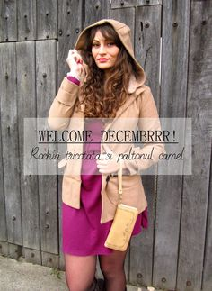 Welcome Decembrrr! | Rochia tricotata si paltonul camel | Color Me RED Welcome, Camel, Street Style, Tote Bag, Red, Bags, Color, Fashion, Handbags