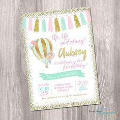 Hot air balloon invitation, pink mint and gold birthday, First birthday invitation, pink and gold, 1st birthday, printable invitation
