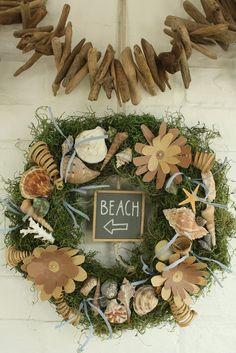 Seashell and Sandpaper Flower wreath