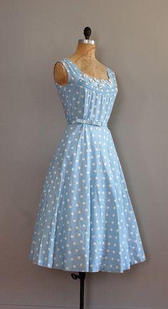 1950s dress / 50s dress / polka dot / Walking on Air by DearGolden, $138.00