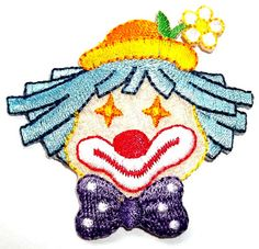 CLOWN FACE EMBROIDERED IRON ON APPLIQUE