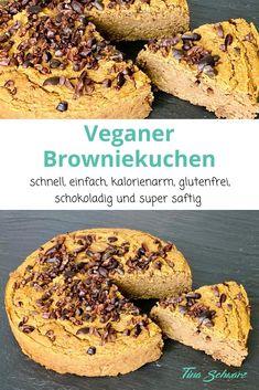 Wer Brownies mag, wird diesen Browniekuchen lieben. Er ist super schnell zubereitet und schmeckt herrlich saftig und schön schokoladig. Diesen Kuchen kannst du ganz ohne Reue genießen und durch die große Menge an Ballaststoffen macht er sogar angenehm satt. #vegan #vegetarisch #glutenfrei #ohneMehl #Schokolade #Schokodrops #Kakaonibs #einfach #gesund #lecker #schnell #kalorienarm #abnehmen #abnehmentrotzLipödem #gesundeErnährung #gesunderKuchen Bagel, Brownies, Muffin, Bread, Breakfast, Food, Chocolate, Kuchen, Healthy Recipes