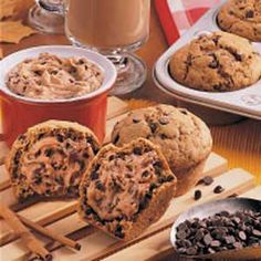Muffins Recipe - I make muffins very similar to this subbing in Pamela's GF baking flour. I've never tried the spread, though. These are seriously soooo gooood. Muffin Recipes, Breakfast Recipes, Latte, Delicious Desserts, Yummy Food, Chocolate Chip Muffins, Baking Flour, Baked Goods, The Best