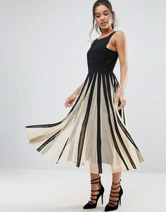 ASOS | ASOS Mesh Fit and Flare Mono Midi Dress